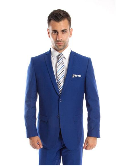 Men's Single Breasted Royal ~ Indigo ~ New Blue ~ Cobalt 2 Button Front Slim Fit Double vents 2 Piece Suit