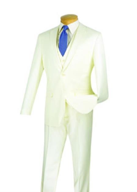 JSM-2118 Men's 3 Piece 100% Wool Executive Ivory Suit - Narrow Leg Pants