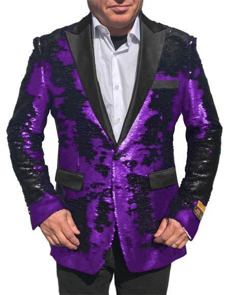Alberto Nardoni Best men's Italian Suits Brands Shiny Flashy Sequin Tuxedo Black Lapel paisley look sport jacket ~ coat