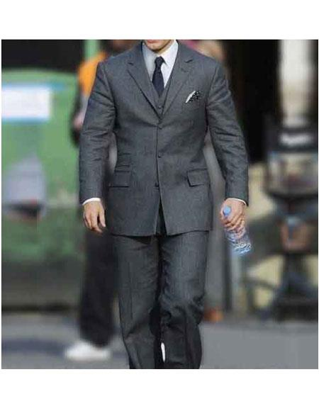 Men's Henry Cavill Single Breasted Three Button Light Grey Notch Lapel Suit