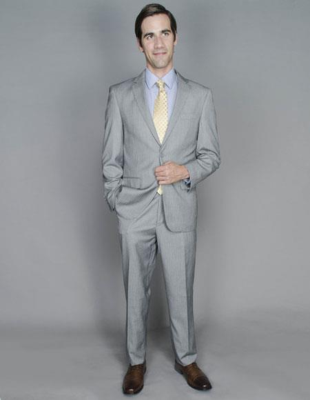 Product# JSM-6464 Men's Striped Single Breasted Authentic Giorgio Fiorelli Brand suits Flat Front Pants