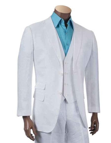 Product# CH2412 Mens Two Buttons Men's 2 Piece Linen Causal Outfits fashion vested White 3 piece suit / Beach Wedding Attire For Groom - Mens All White Linen Suit