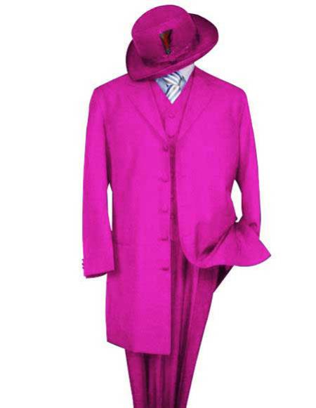 Product# Zoot-100 Mens Classic Pink Long Fashion Zoot Suit For sale ~ Pachuco Mens Suit Perfect for Wedding (Wholesale Price available)