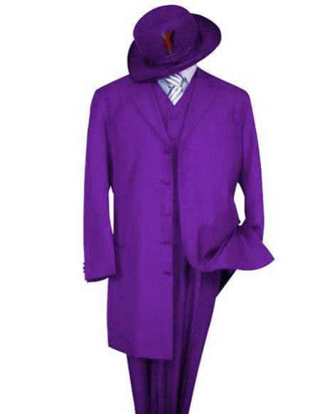 Product# Zoot-100 Mens Classic Long Fashion Purple Zoot Suit (Wholesale Price available)