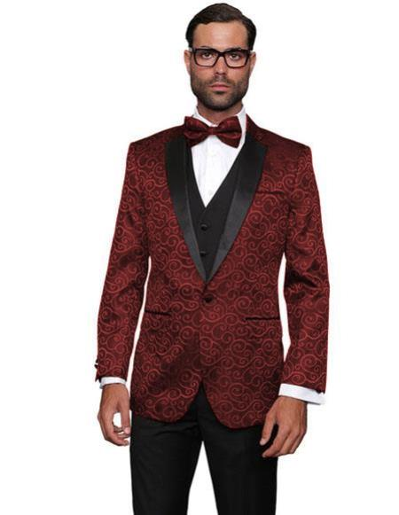Product# CH2247 Mens Floral Sateen Paisley Sport Coat Sequin Unique Shiny Fashion Prom Flashy Silky Satin  Party Maroon Two Toned Blazer / Sport coat / Mens Jacket / Dinner Jacket  Perfect For Prom Clothe - Prom Outfits For Guys