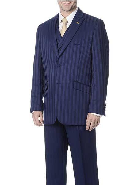 Men's Single Breasted Navy Blue 3 Piece Polyester Peak Lapel Striped Vest Suit