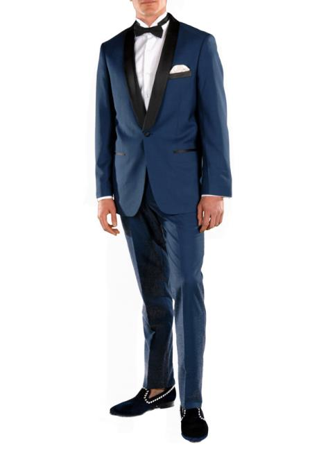 Men's Shawl Lapel 2 Piece Single Breasted Slim Fit Navy Blue Tuxedo Suit
