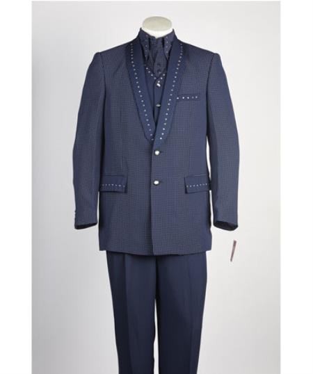Men's Navy Single Breasted 2 Piece Suit