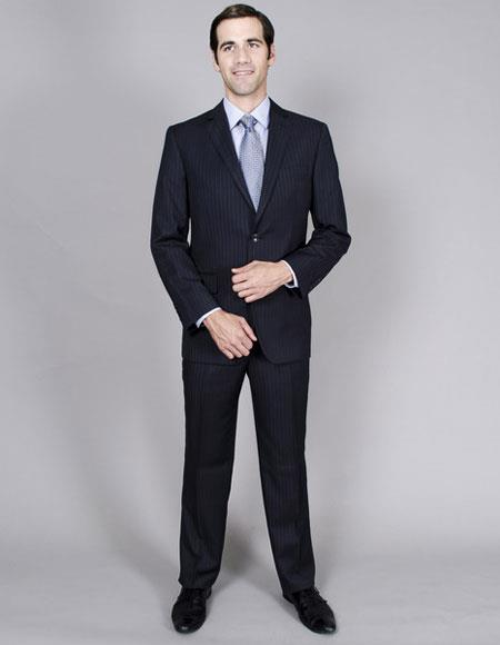 Product# JSM-6428 Mens Classic Single Breasted stripe Authentic Giorgio Fiorelli Brand suits Flat Front Pant