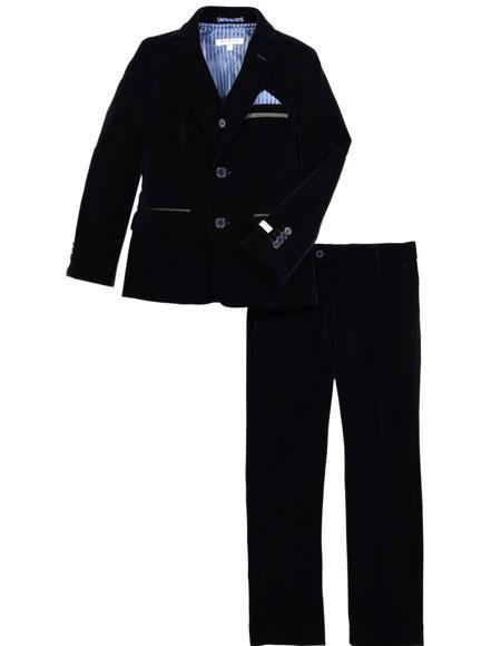 Navy Blue Suit - Navy Suit mens Velvet Fabric Suit Jacket & Pants Navy (no vest included)