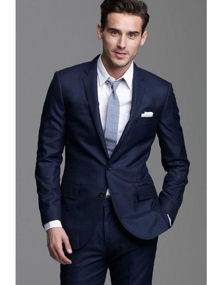 Mens navy suit grey