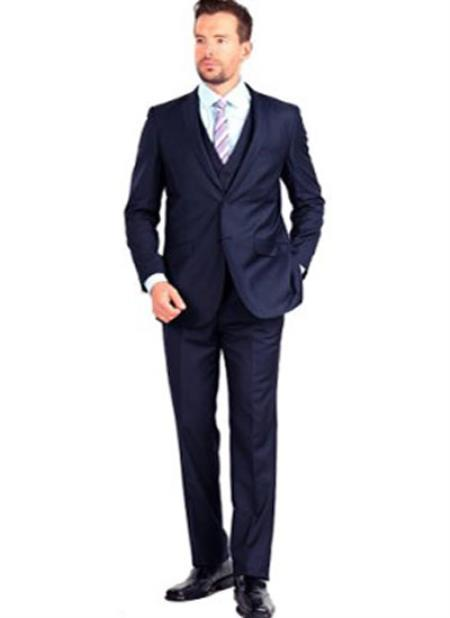 Product# SM1309 3 Piece Double Vent Notch Collar Single Breasted Navy Slim narrow Style Fit Vested Suit