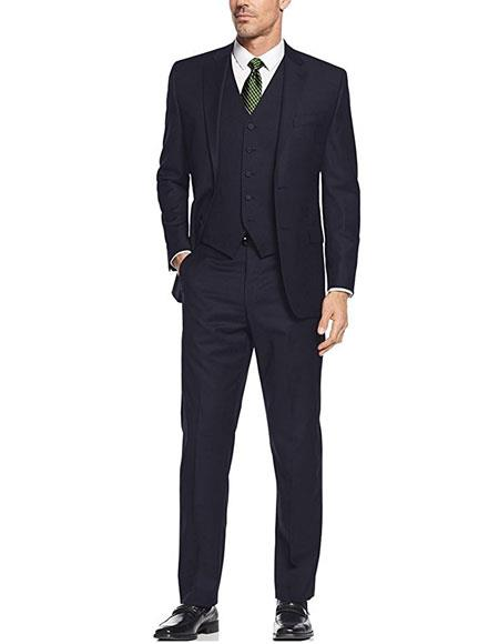 Product# AP670 Caravelli Men's 3-Piece Single Breasted Slim Fit 2-Button Navy Vested Dress Suit Set (Buy Wholesale 10PC&UP of this for $90)