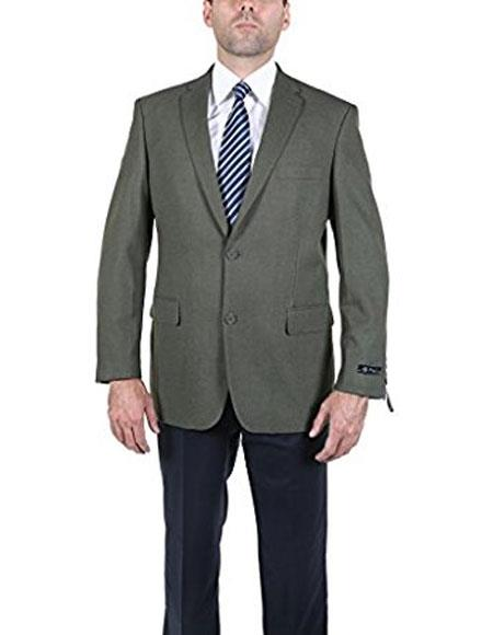 Men's Classic Olive 2 Button Blazer Suit Jacket
