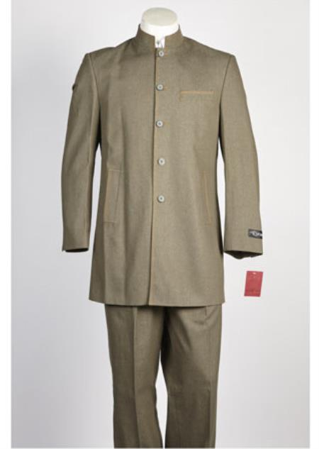Mens 5 Button Olive