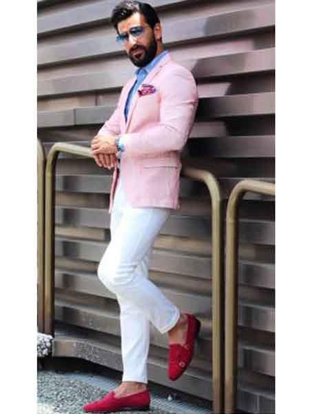 Mens Pink Notch Lapel