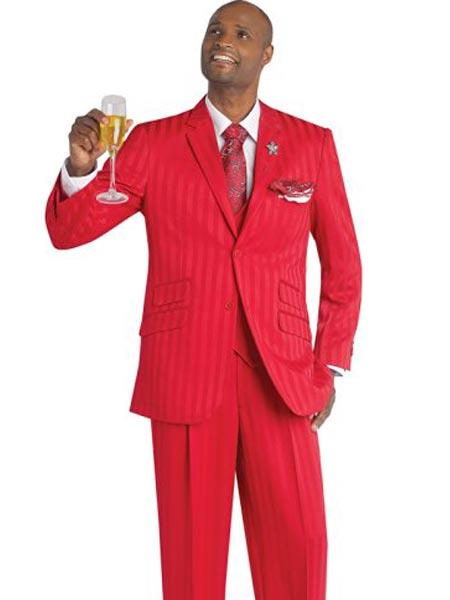 Product# JSM-247 Men's Red Single Breasted Notch Lapel 3 Piece Striped Suit
