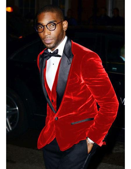 Product# CH1597 Mens Red Velvet Tuxedo Blazer ~ Sport coat