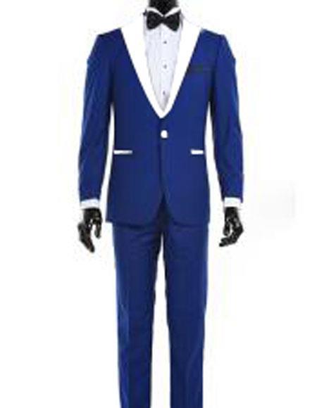 Product# AP655 Mens 1 Button Royal Blue Suit For Men Perfect  and White Lapel Tuxedo Suit