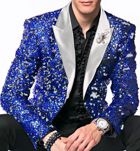men's Royal ~ White Sequin paisley Dinner Jacket Tuxedo Blazer glitter sparkly Sport coat