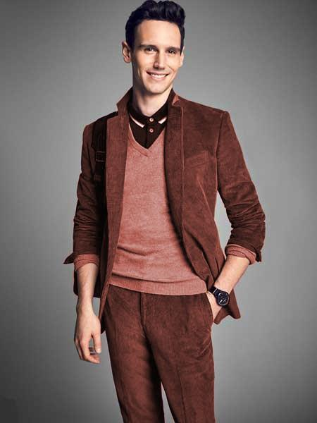 Product# JSM-2127 Men's Notch Lapel Velvet Rust CORDUROY SUIT ( Blazer Sportcoat + Slacks)