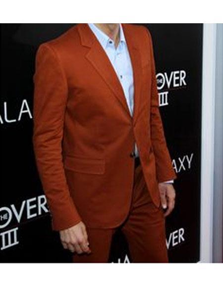 Mens Rust ~ Copper ~ Rust 2 Buttons Suit Flat Front Pants