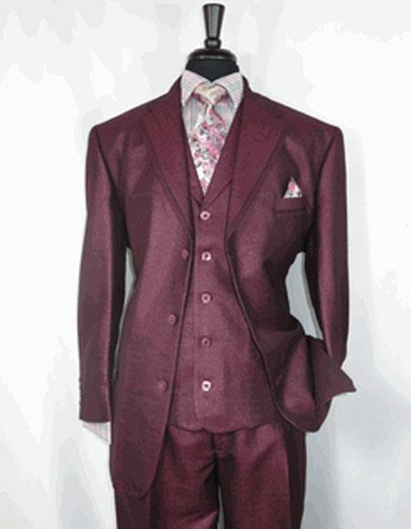 Mens Sharkskin Burgundy Single