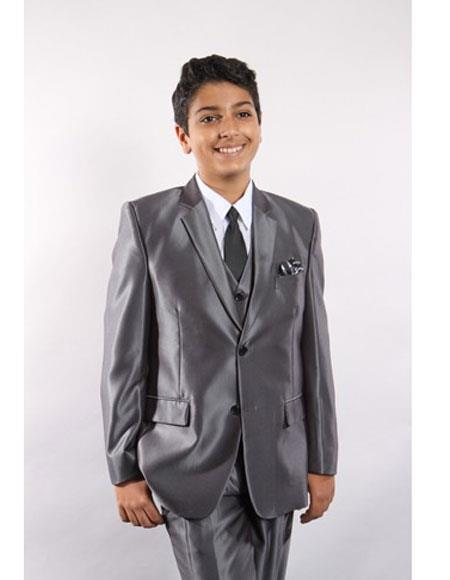Product# JSM-5745 Boy's 5 Piece Single Breasted Silver Suit Vested w/ White Shirt, Tie & Hanky Stylish Sheen