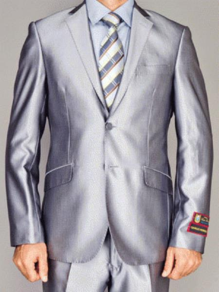 Men's Giorgio Fiorelli Fully Lined Single Breasted Double Vent Silver 2 Button Suit