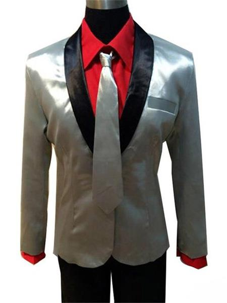 Product# MO433 Mens Single Breasted Shawl Lapel Silver Suit