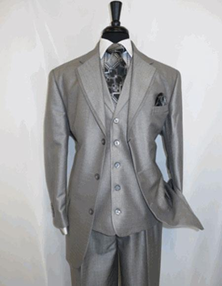 Men's 3 Button Single Breasted Notch Lapel Silver Grey Suit
