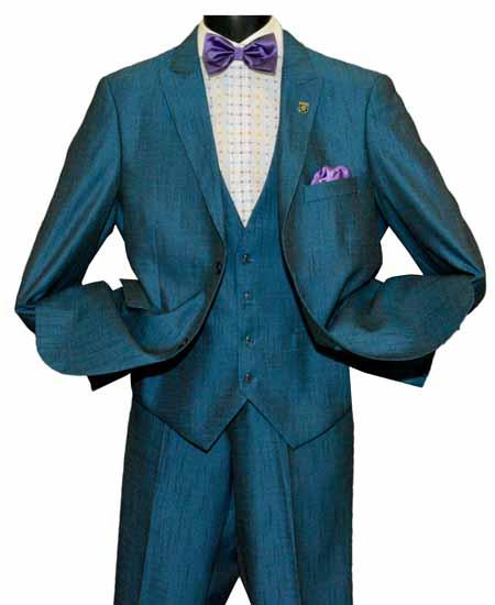 SD232 Men's Peak Lapel Sky Blue 2 Button Single Breasted