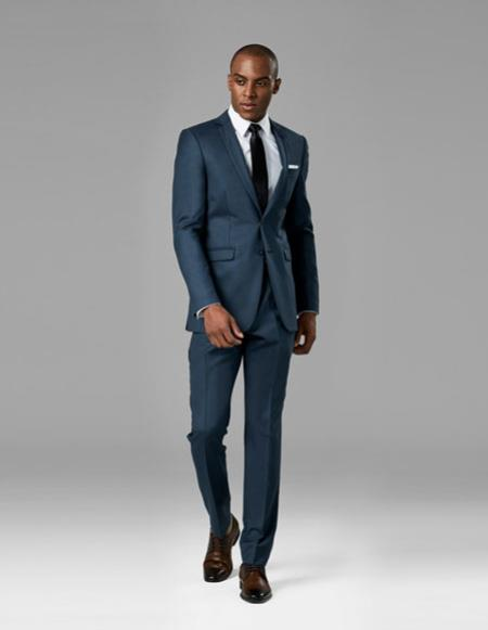 CH2387 Mens Slate Blue best Suit buy one get one suits free slim vested Suit