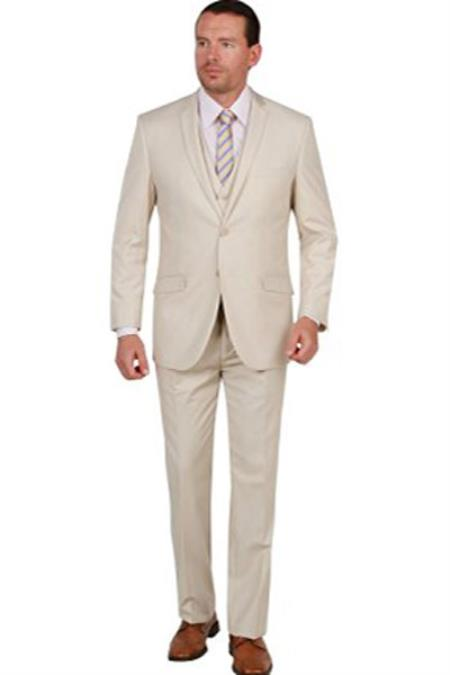Product# SM1300 Tan khaki Color 3 Piece Notch Collar Double Vent Single Breasted Vested Slim narrow Style Fit Suit