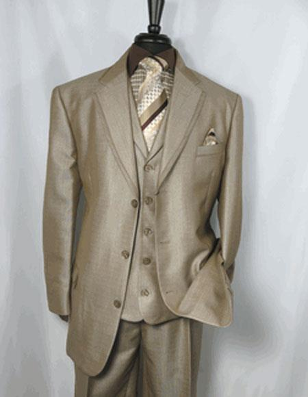 Mens Tan Notch Lapel