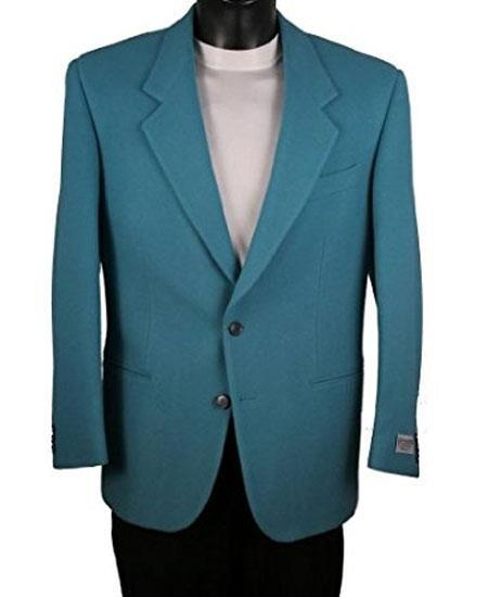 Men's Blue Single Breasted 2 Button Notch Lapel Blazer