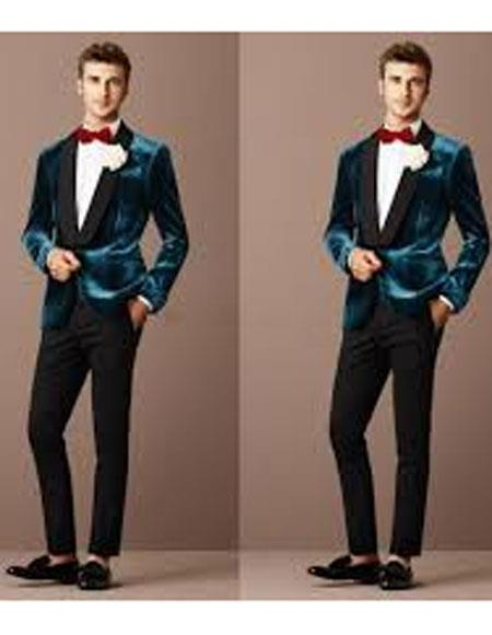 Product# JSM-5104 Teal Blue Tuxedo For Men