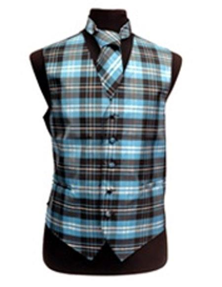 Product# JSM-3289 Men's Black/White/Turquoise Slim Fit Polyester Plaid Design Vest/Bow Tie Fashion Set