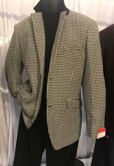 Mens White/Black Houndstooth Blazer