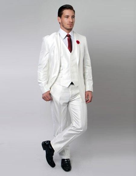 Product# JSM-5211 Men's Sharkskin  Metallic Silky White Shiny Flashy 2 Button Single Breasted 3 Piece Suit Slim Fit Suit