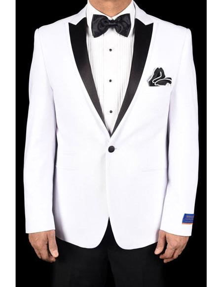 men's White Super 150's Viscose Blend 1 Button Tuxedo Solid Pattern Slim Fit Dinner Jacket