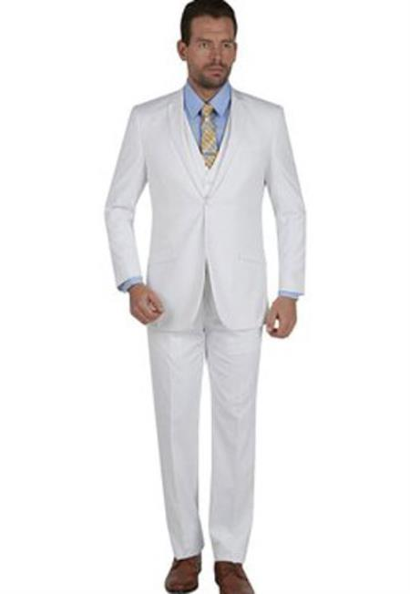 Product# SM1308 Slim narrow Style Fit 3 Piece Notch Collar Double Vent Single Breasted Vested White Suit
