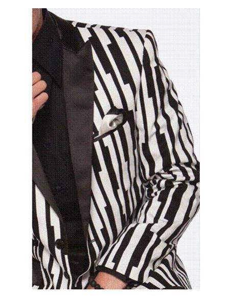 Product# CH2329 Mens black stripe designed Single Breasted white suit