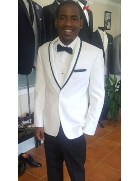 Product# CH2306 Mens Single Breasted Trimmed Shawl Lapel white tuxedo suit