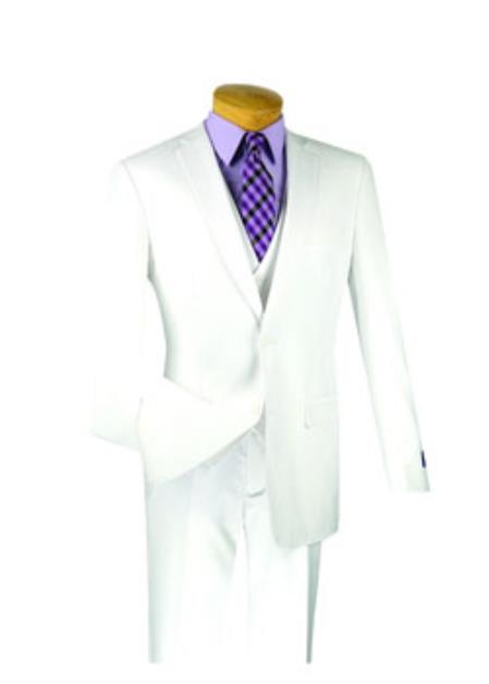 Product# JSM-2117 Men's 3 Piece 100% Wool Executive White Suit - Narrow Leg Pants