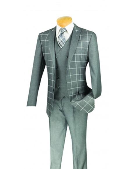 men's Plaid ~ Windowpane Gray Slim Fit Blazer ~ Sport Jacket