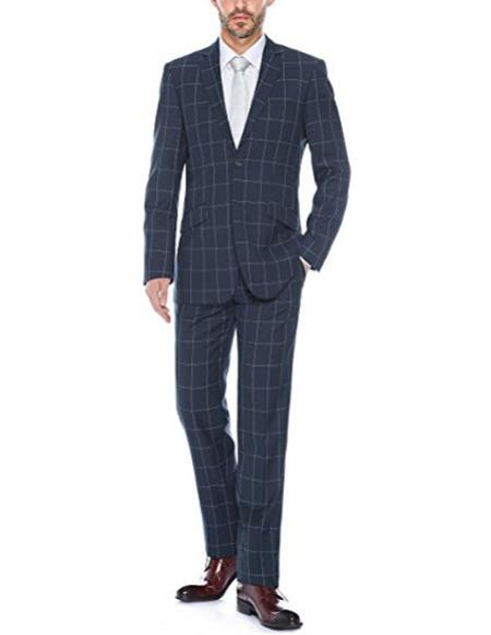 Mens windowpane plaid navy