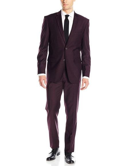 Product# JSM-6822 Men's 2 Button Solid Wine Classic & Slim Fit Blend Suits