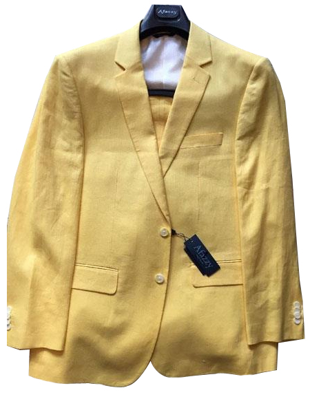 JSM-6345 Mens Single Breasted Two Buttons 100% Linen Modern Fit lined Yellow suit