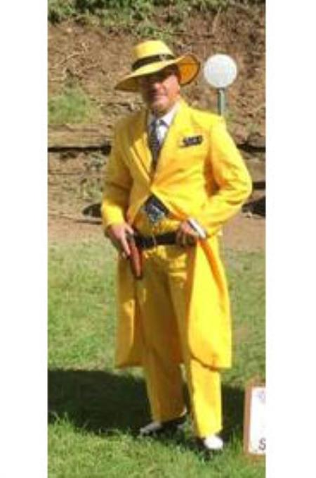 Zoot-100 Men's Single Breasted Solid Yellow Zoot Suit